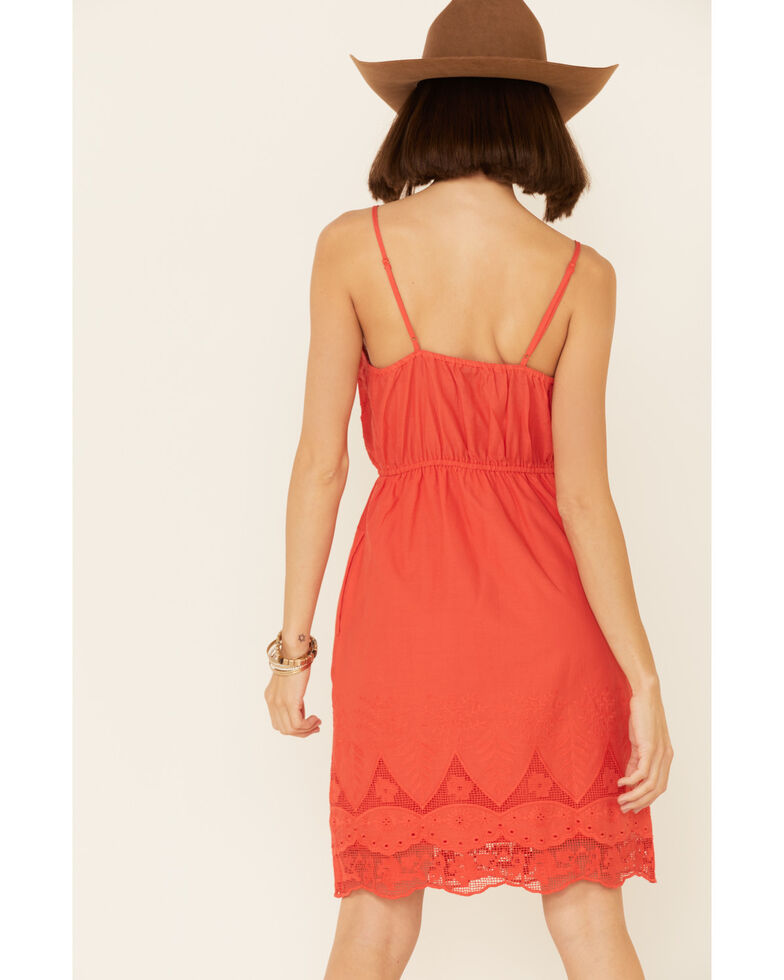 Stetson Women's Red Eyelit & Lace Dress, Red, hi-res