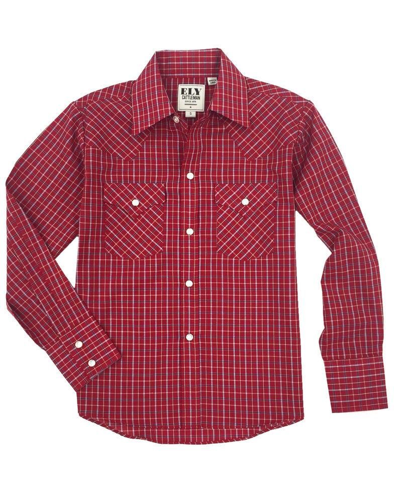 Ely Cattleman Toddler Boys' Burgundy Check Plaid Long Sleeve Western Shirt , Burgundy, hi-res