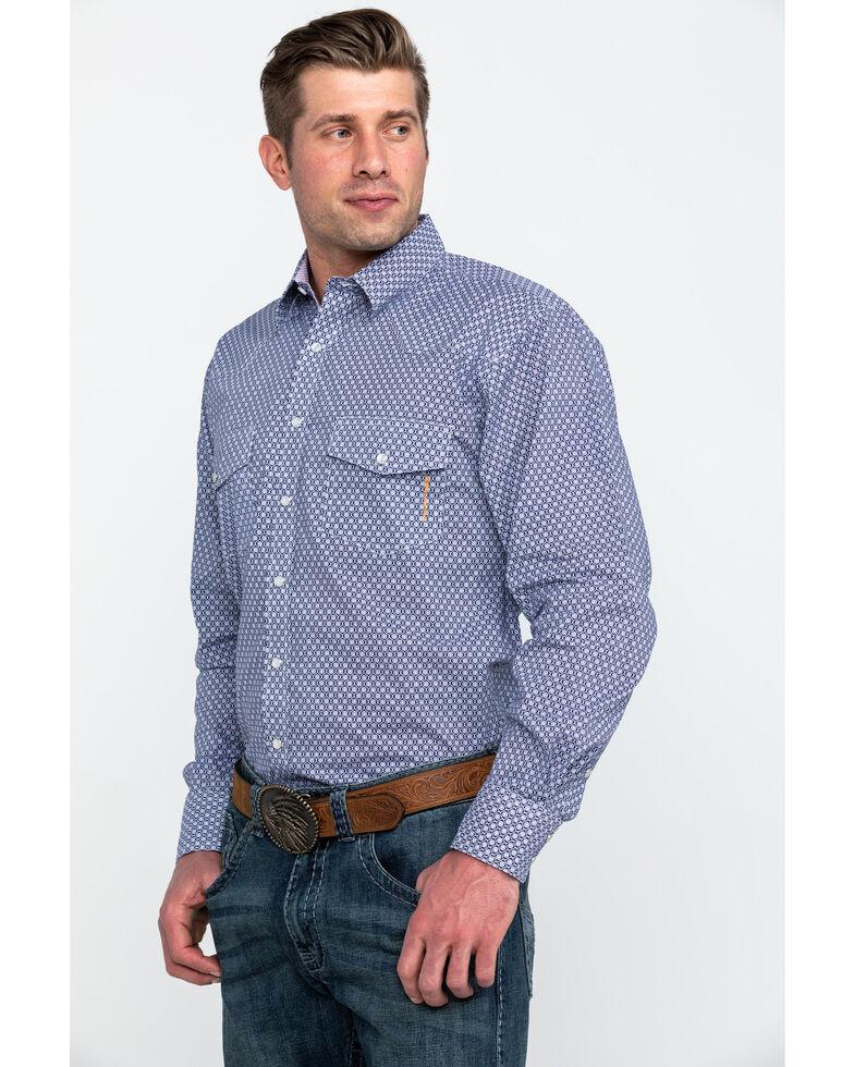Resistol Men's Suffolk Geo Print Long Sleeve Western Shirt , Purple, hi-res