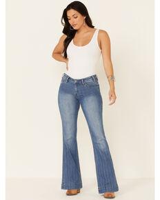 Panhandle Women's Medium Wash Herringbone Stripe Mid-Rise Trouser Jean, Blue, hi-res