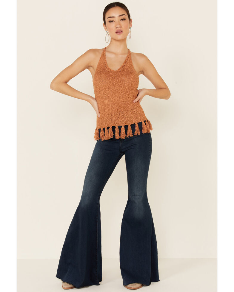 Shyanne Women's Pecan Sweater Knit Fringe Tank Top, Pecan, hi-res