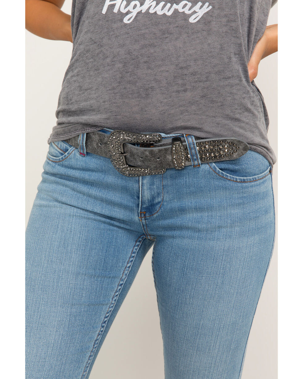 Shyanne Women's Eclipse Multi-Stud Pewter Belt, Silver, hi-res