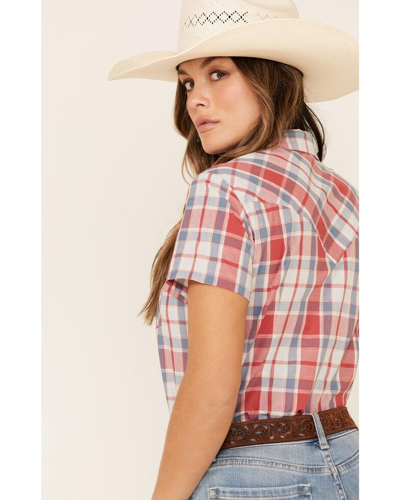 Wrangler Women's Multi Americana Plaid Short Sleeve Western Shirt , Red/white/blue, hi-res