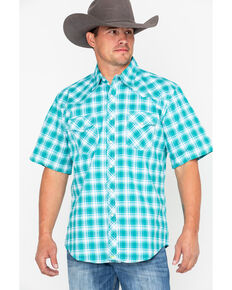 Wrangler 20x Men's Green Plaid Advanced Comfort Short Sleeve Western Shirt , Green, hi-res