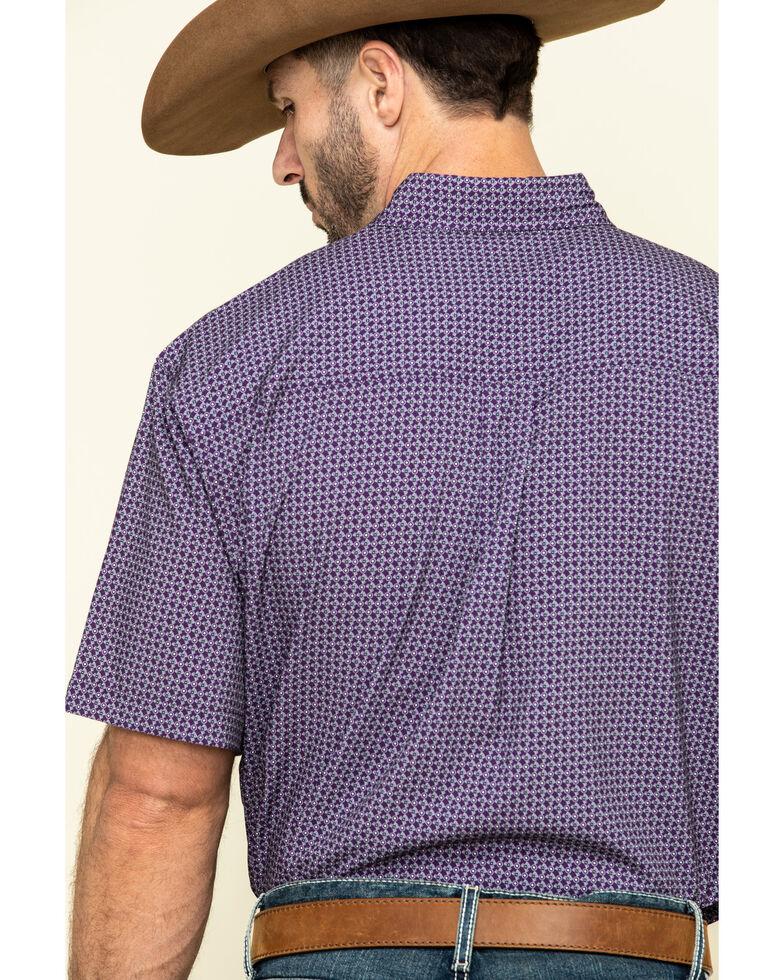 Cinch Men's Arena Fit Purple Small Geo Print Short Sleeve Western Shirt , Purple, hi-res