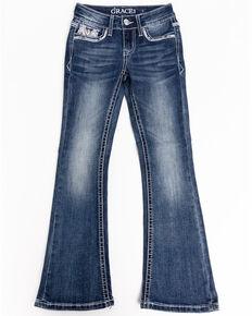 Grace in LA Girls' Medium Embroidered Skinny Jeans, Blue, hi-res