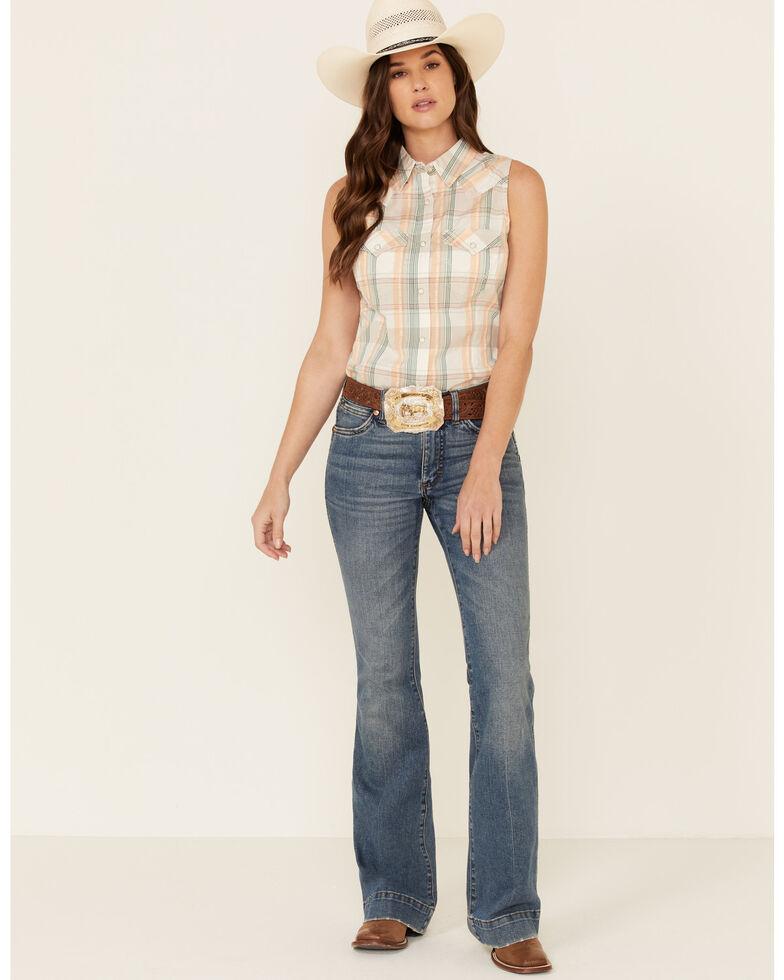 Wrangler Women's Peach Plaid Snap Sleeveless Western Core Shirt , Peach, hi-res