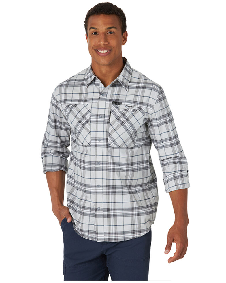 Wrangler ATG Men's All-Terrain Grey Plaid Hike-To-Fish Long Sleeve Button-Down Western Shirt , Grey, hi-res