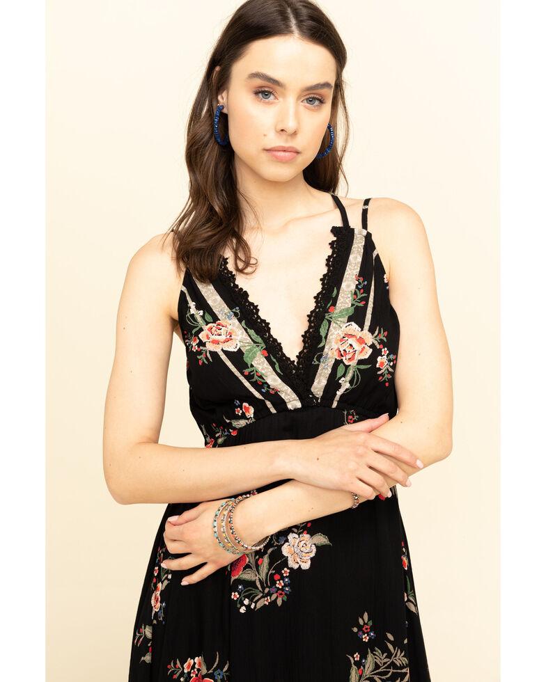 Angie Women's Black Floral Hanky Hem Dress, Black, hi-res