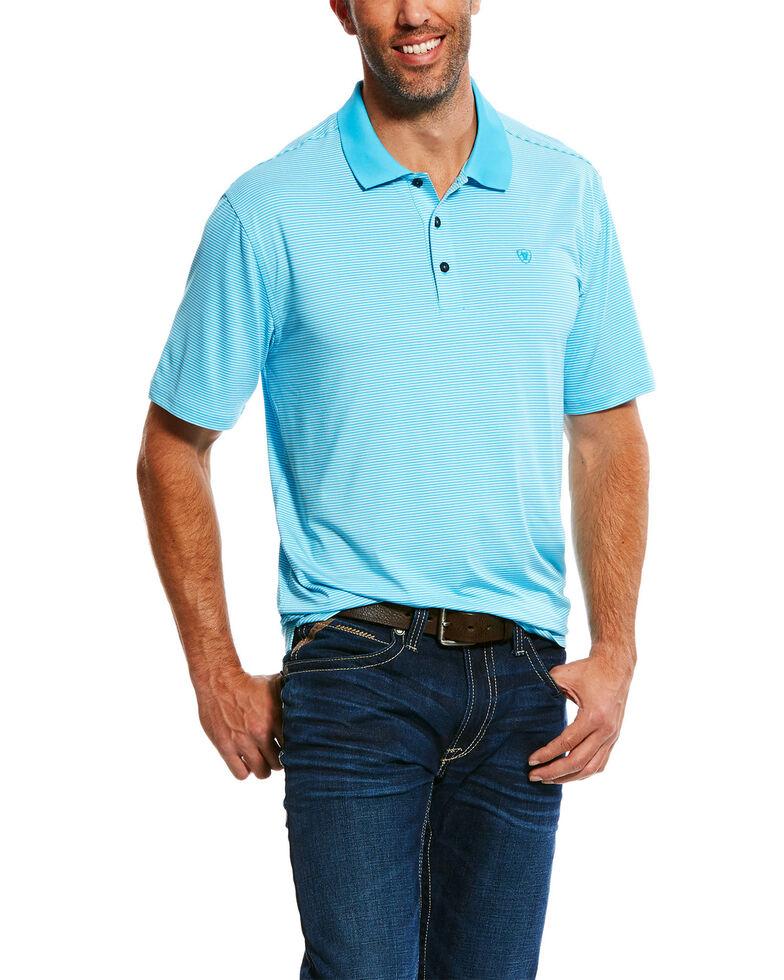 Ariat Men's TEK Micro Stripe Polo Shirt , Turquoise, hi-res