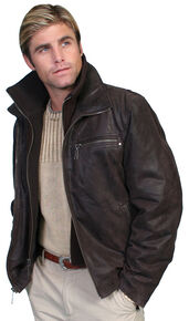 Scully Zip-Out Front & Collar Lambskin Jacket, Brown, hi-res