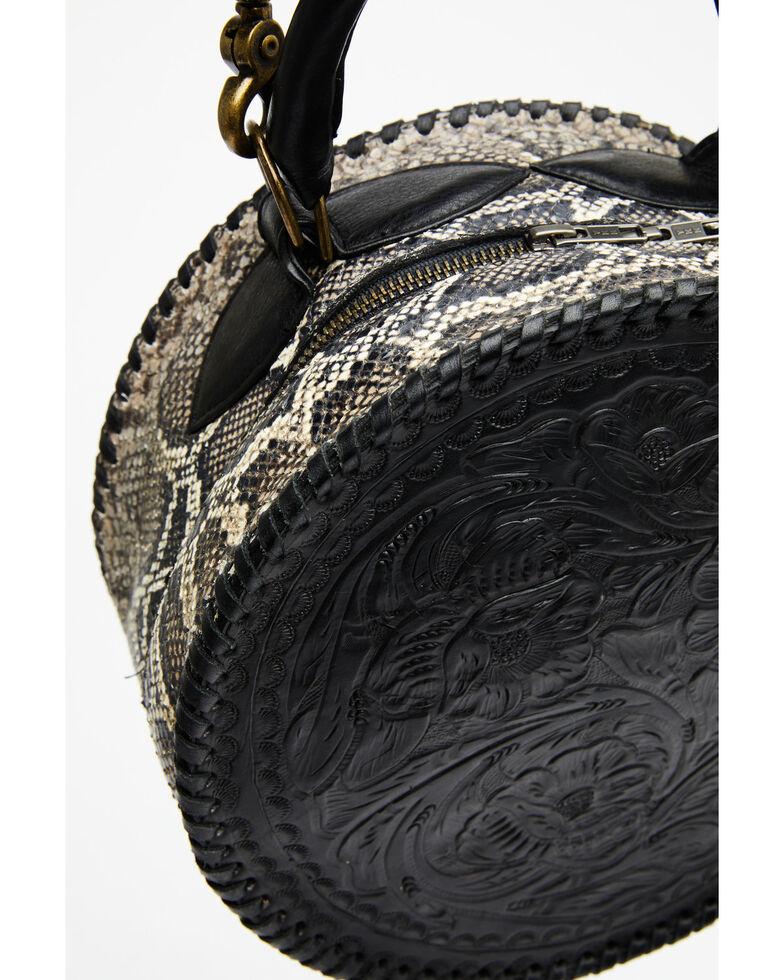 Juan Antonio Women's Tooled Round Snake Embossed Bag, Black, hi-res