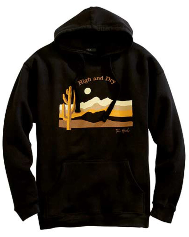 Tin Haul Men's Black Cactus & Mountains Sunset Graphic Hooded Sweatshirt , Black, hi-res