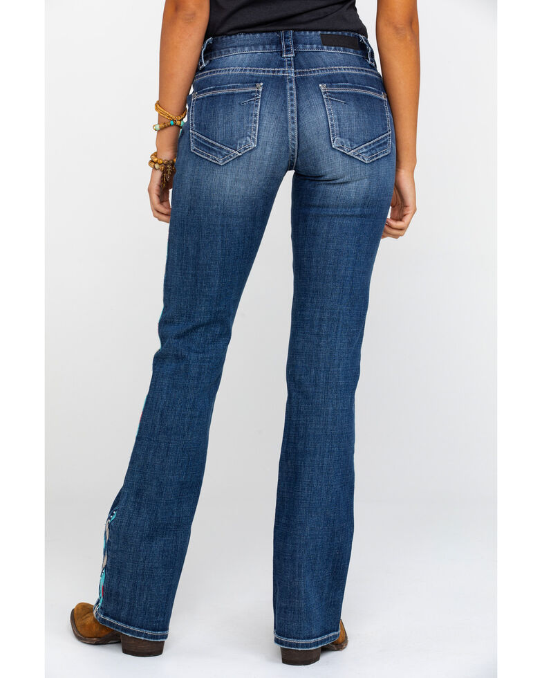 Rock & Roll Cowgirl Women's Basic Pocket Mid Rise Boot Jeans , Blue, hi-res
