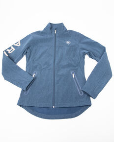 Ariat Women's Lake Life Heather Team Softshell Jacket, Blue, hi-res