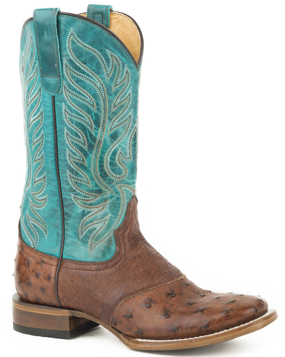 Roper Women's Brown Sami Saddle Vamp Full Quill Ostrich Boots - Square Toe , Brown, hi-res