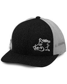 Oil Field Hats Men's Heather Black & White Sniper Pig Mesh-Back Ball Cap , Black, hi-res