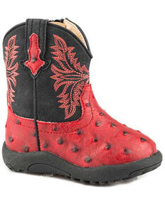 Roper Infant Boys Cowboy Cool Western Boots - Round Toe, Red, hi-res