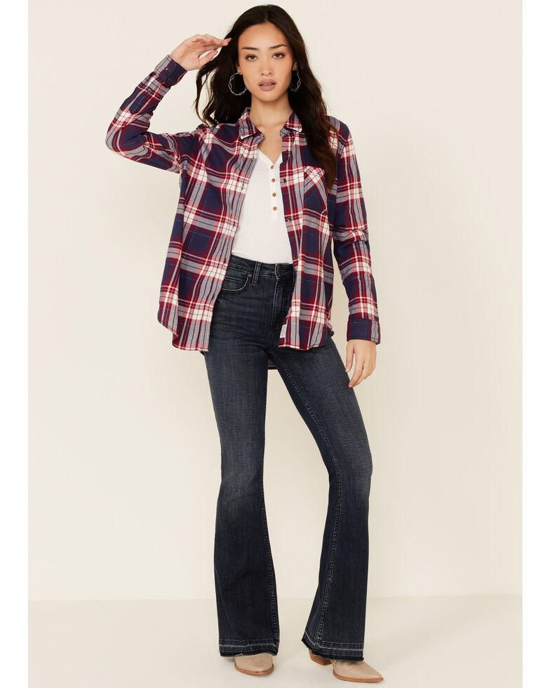 Flag & Anthem Women's Ramsey Plaid Long Sleeve Button-Down Western Core Shirt , Navy, hi-res