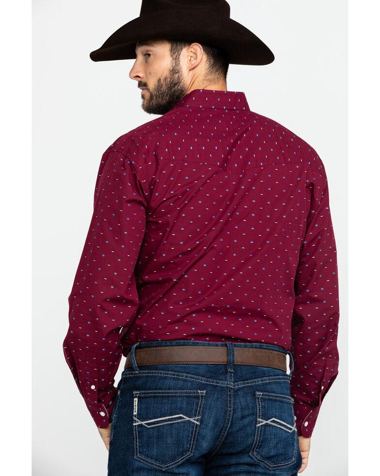 Resistol Men's Groppe Geo Print Long Sleeve Western Shirt , Red, hi-res