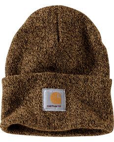 Carhartt Men's Dark Brown & Sandstone Acrylic Watch Hat , Brown, hi-res