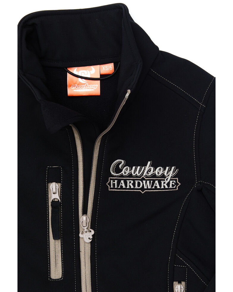 Cowboy Hardware Boys' Black Ride Hard Zip-Up Softshell Jacket , Black, hi-res