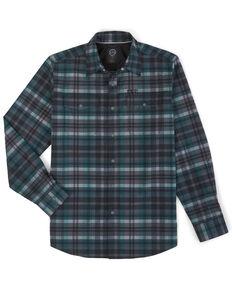 Wrangler All Terrain Men's Dark Green Plaid Pocket Utility Long Sleeve Western Flannel Shirt , Green, hi-res