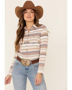Shyanne Life Women's Tan Striped Long Sleeve Western Flannel Shirt , Tan, hi-res