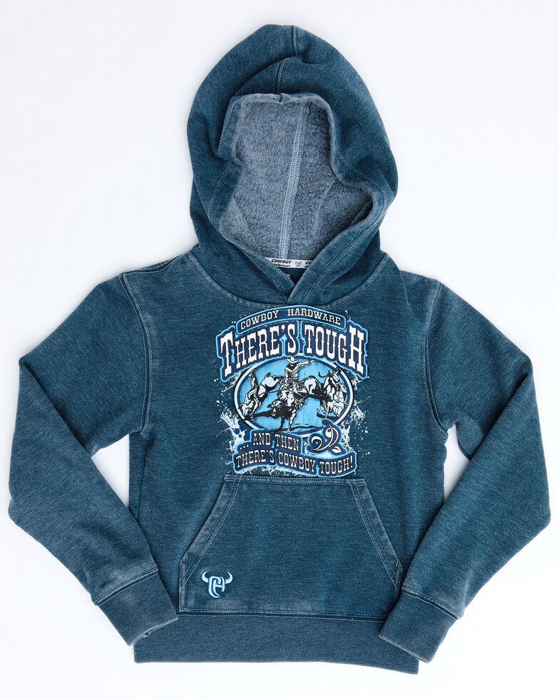 Cowboy Hardware Boys' Blue There's Tough Acid Washed Hooded Sweatshirt , Blue, hi-res