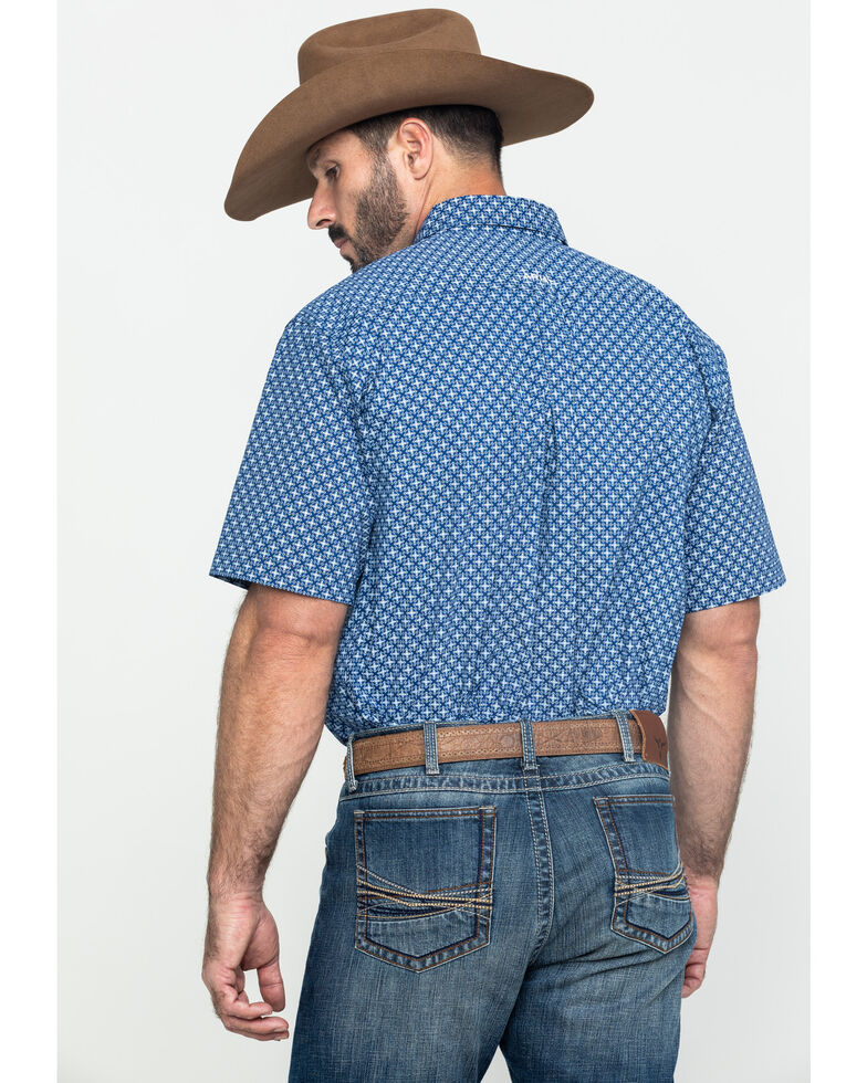 Ariat Men's Gladview Stretch Geo Print Short Sleeve Western Shirt , Blue, hi-res