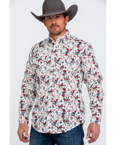 Roper Men's Floral Hawaiian Print Long Sleeve Western Shirt , Grey, hi-res