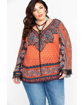 Flying Tomato Women's Rust Boho Peasant Top - Plus, Rust Copper, hi-res