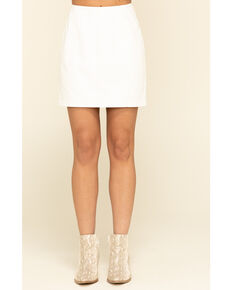 Free People Women's Modern Femme Vegan Mini Skirt , White, hi-res