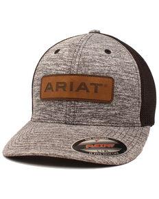 Ariat Men's Logo Leather Patch Flex Fit Mesh Ball Cap , Black, hi-res