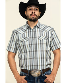 Cody James Men's Tall Oaks Plaid Short Sleeve Western Shirt , Grey, hi-res