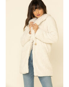 PJ Salvage Women's Faux Fur Collar Sherpa Lined Jacket , Stone, hi-res