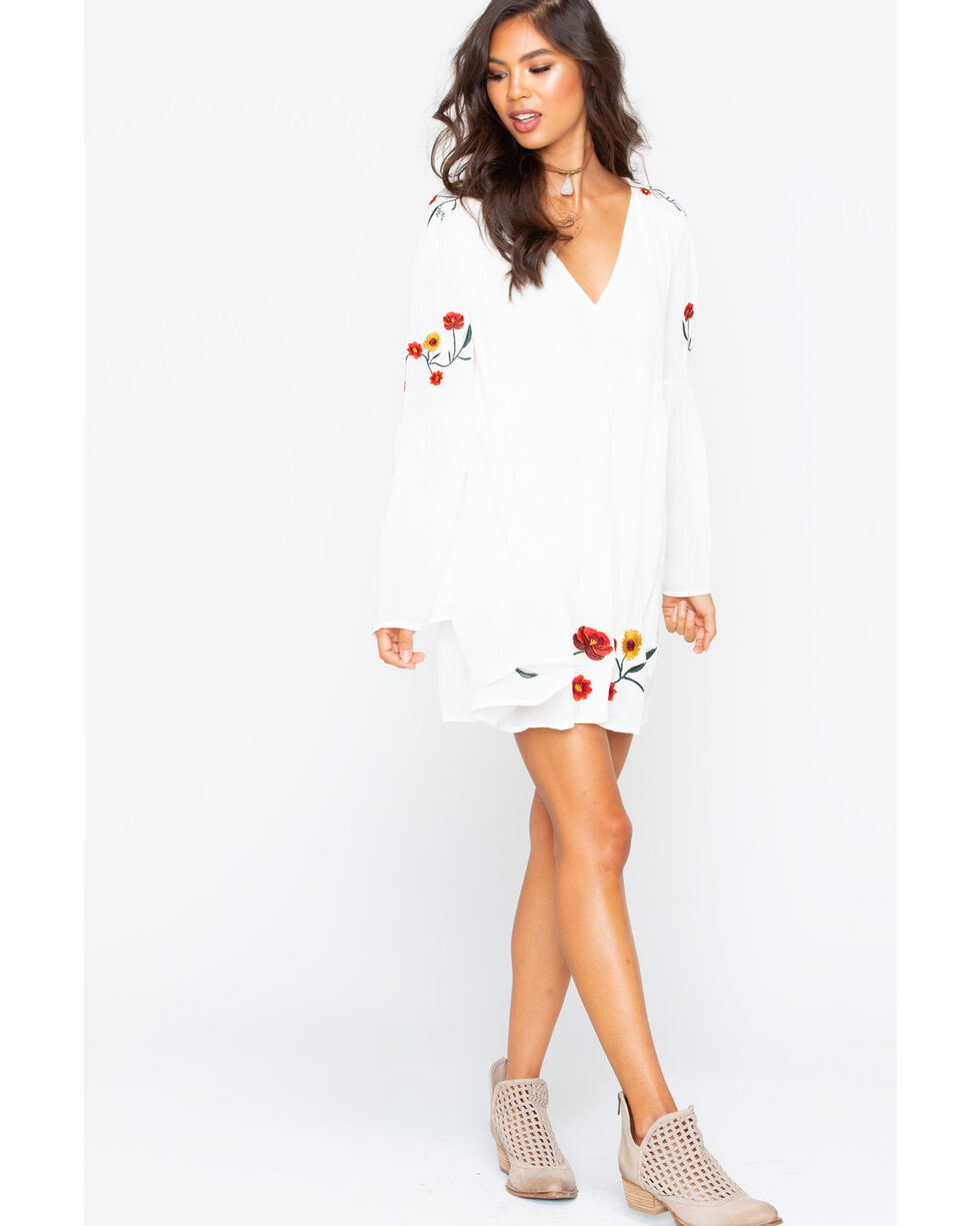 Sadie and Sage Women's Flower Embroidery Dress , Ivory, hi-res