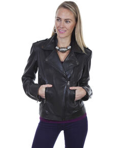 Leatherwear By Scully Women's Lined Leather Motorcycle Jacket , Black, hi-res