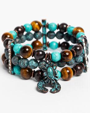 Shyanne Women's Patina Crescent 3 Piece Crescent Charm Bracelets, Turquoise, hi-res