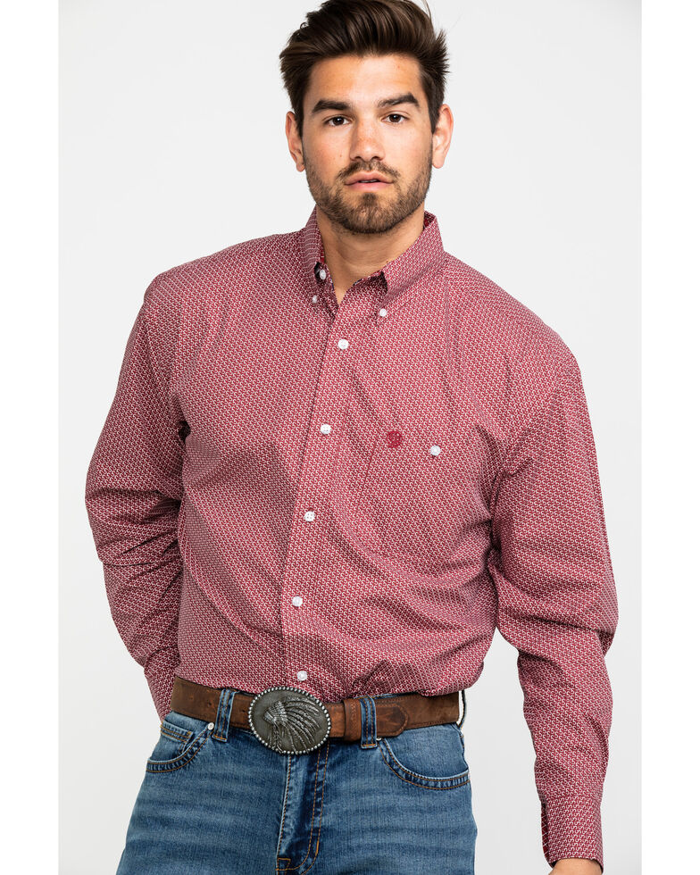 George Strait by Wrangler Men's Red Geo Print Long Sleeve Western Shirt , Red, hi-res