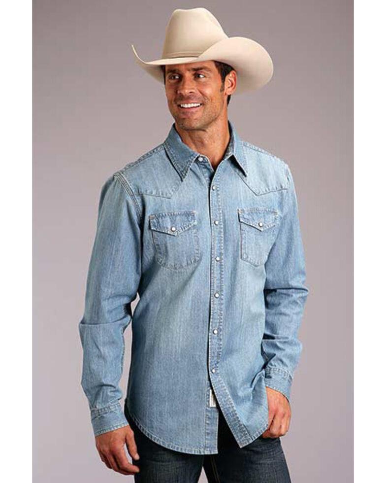 Stetson Men's Original Rugged Light Washed Denim Long Sleeve Western Shirt , Blue, hi-res