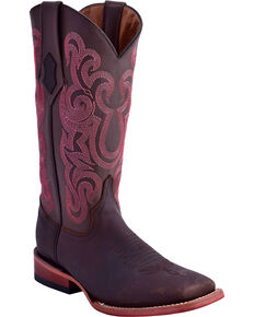 Ferrini Women's Maverick Pink Embroidery Western Boots - Square Toe , Chocolate, hi-res