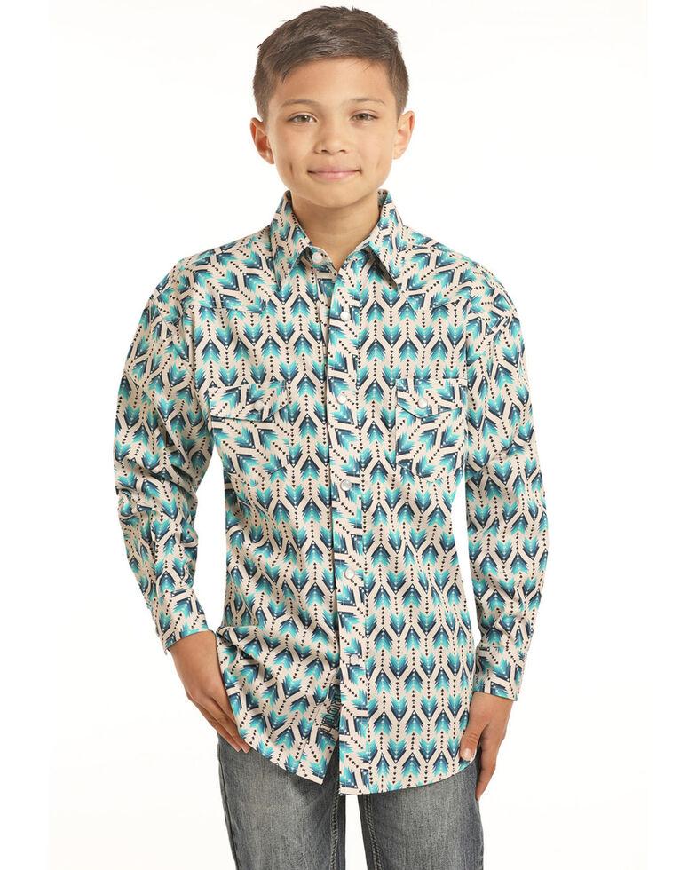 Rock & Roll Denim Boys' Ombre Arrow Print Long Sleeve Western Shirt , Turquoise, hi-res