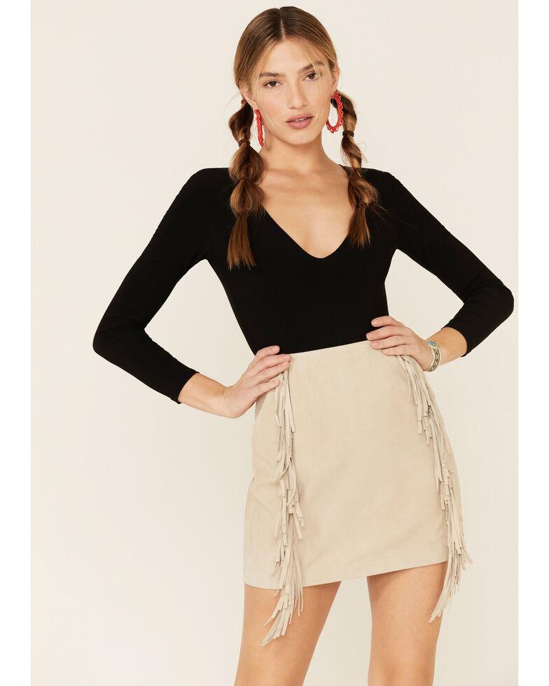 Double D Ranchwear Women's Cream Gathered Stories Fringe Skirt, Cream, hi-res