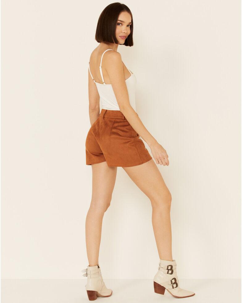 Saints & Hearts Women's Tan Faux Suede Star Shorts , Tan, hi-res