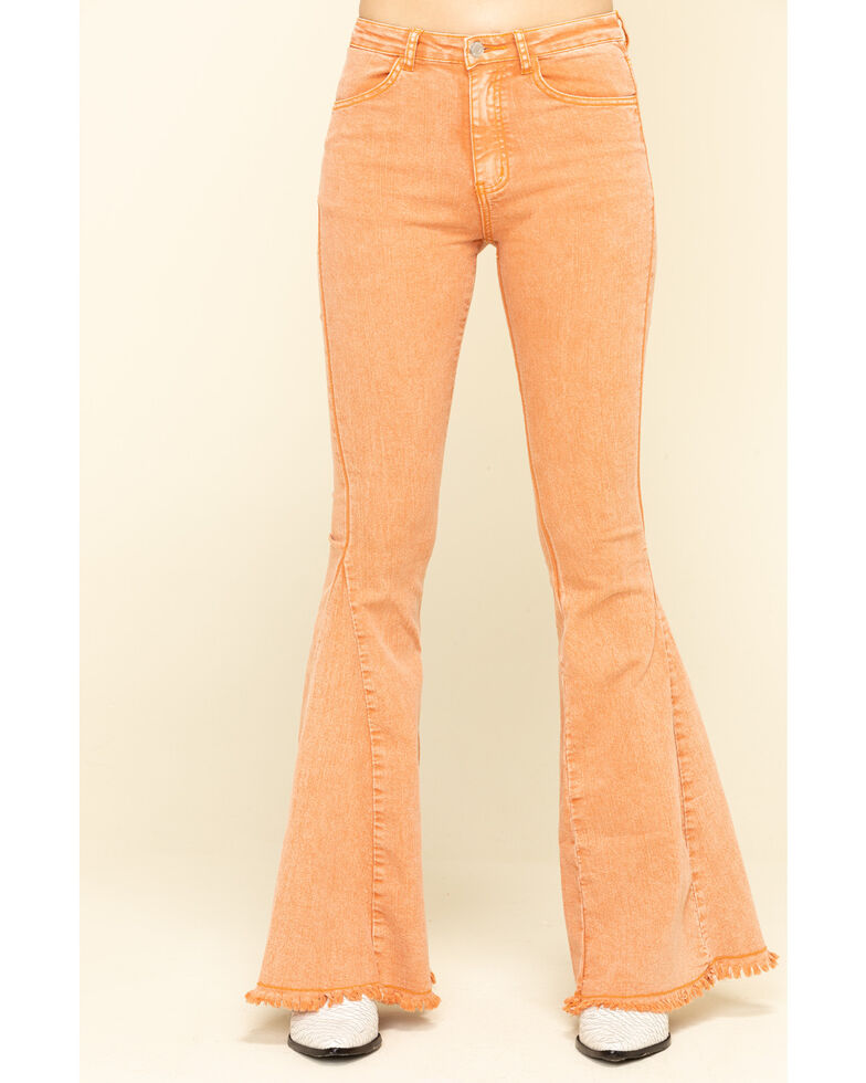Saints & Hearts Women's Rust High Rise Flare Jeans, Rust Copper, hi-res