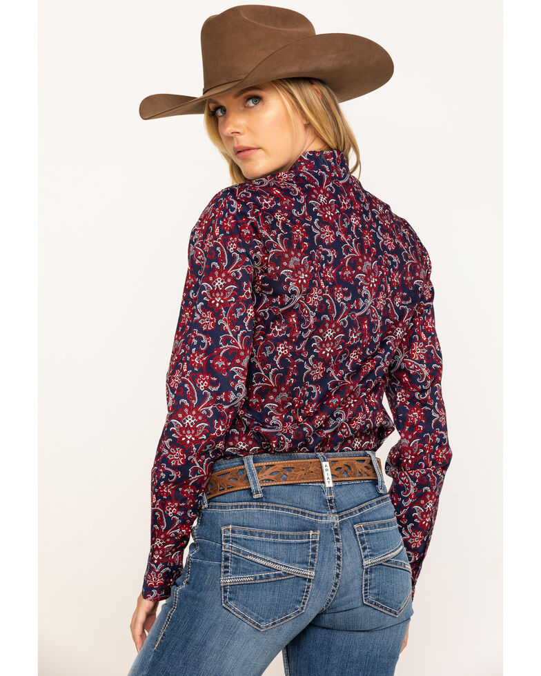 Cinch Women's Red & Navy Paisley Button Core Long Sleeve Western Shirt, Red, hi-res
