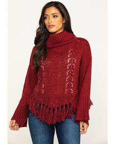 Angie Women's Cable Knit Fringe Turtleneck Sweater , Rust Copper, hi-res