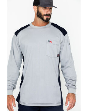 Cinch Men's Grey Fire Resistant Raglan Henley Long Sleeve Work Shirt , Grey, hi-res