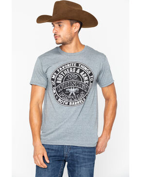 Brothers and Arms Men's Whiskey and Pistols Knit T-Shirt , Heather Grey, hi-res